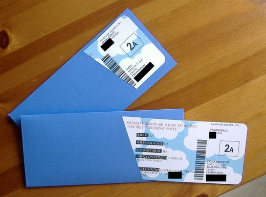 Boarding passes for invites..Would be a nice choice for destination weddings!