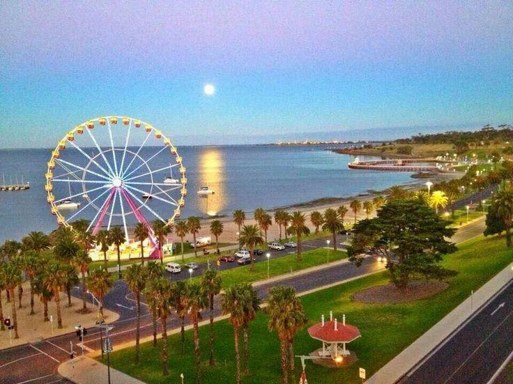 Moon over Corio Bay Geelong - City by the bay