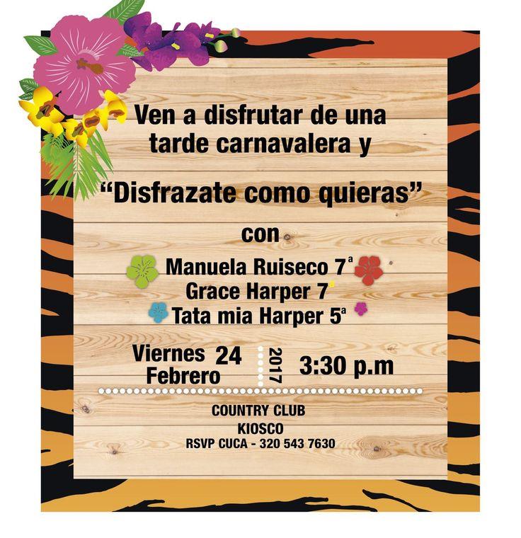 Tarjetas invitación carnaval de Barranquilla