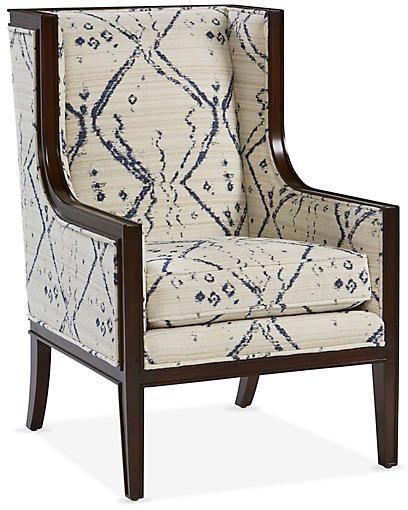 Springfield Accent Chair   Ivory/Indigo   Miles Talbott