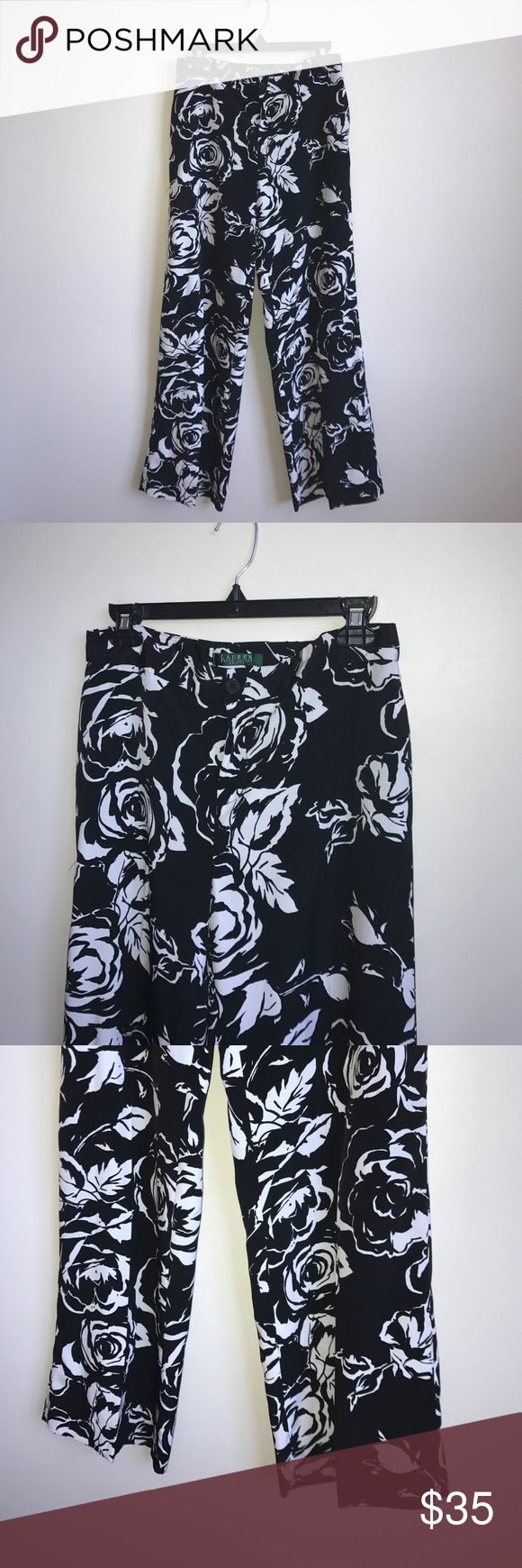 Ralph Lauren dress floral pants Petite 4 black Black and white floral printed dress pants from Lauren Ralph Lauren size 4P. Side pockets, one back pocket. 29'' inseam. Lauren Ralph Lauren Pants Trousers