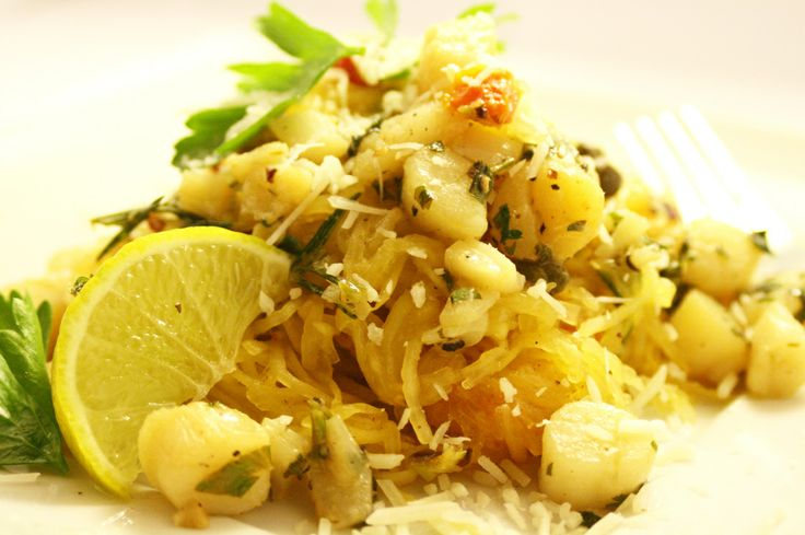 Roasted Spaghetti Squash with Lime & Parsley Pan Seared Scallops