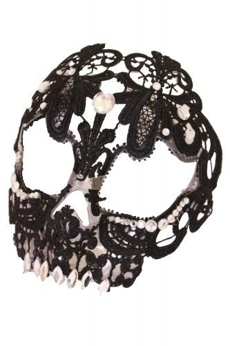 ACM744 - BLACK LACE FULL FACE SKULL MASK | Masks | Phaze Clothing