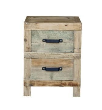 Lovely 2 drawer bed side tables are made from recycled elm with a natural finish.