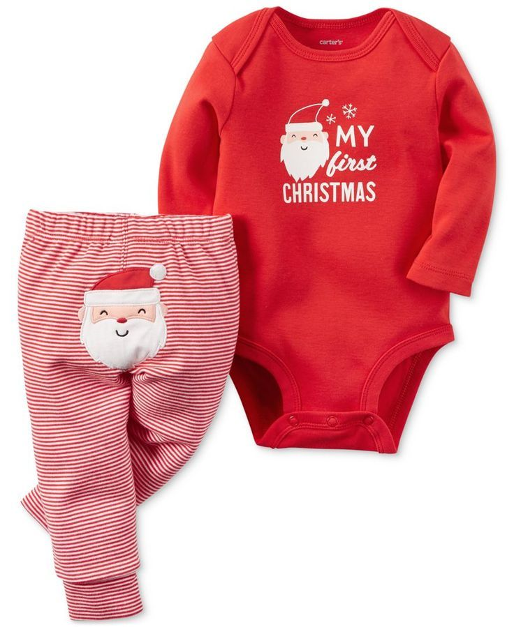 carters 2 pc my first christmas bodysuit pants set baby boys or
