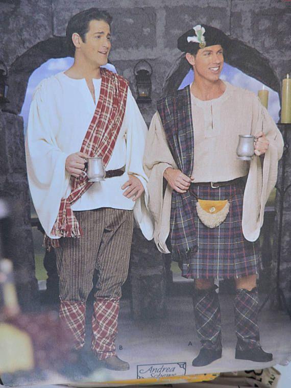 Celtic Men's Kilt Pants Hat Spats Drape Historic Scottish