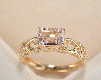 Corte de la esmeralda de anillo de compromiso anillo de