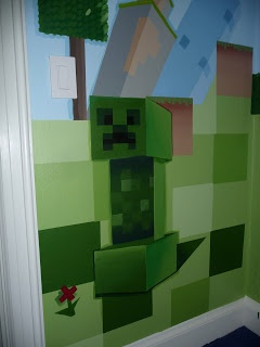 Minecraft Creeper. Painted with Sherwin Williams Emerald Paints for easy two coat coverage. Taped of squares with Scotch Blue Painter's tape for clean crisp lines.