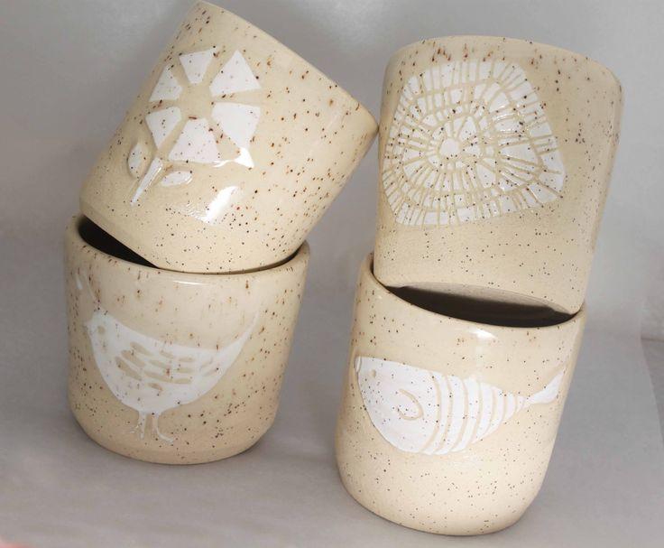 Etched Stoneware tumblers - Stinging Nettle Studio
