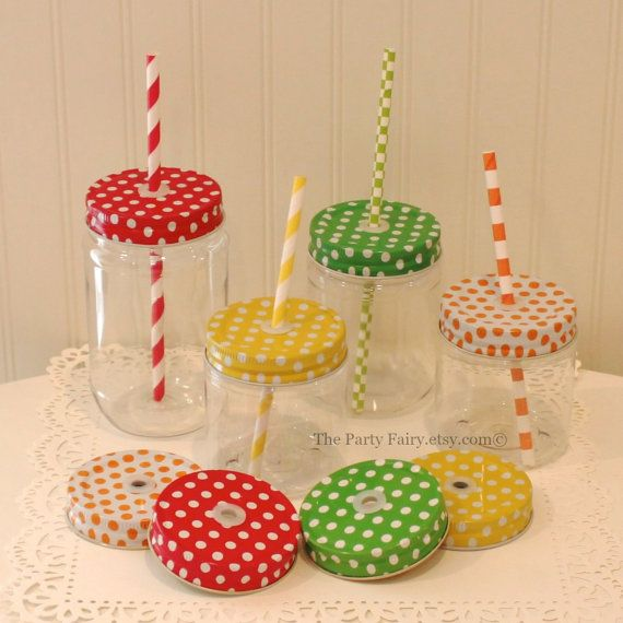 Mason Jars 6 Plastic Mason Jar with Polka Dot Jar by ThePartyFairy