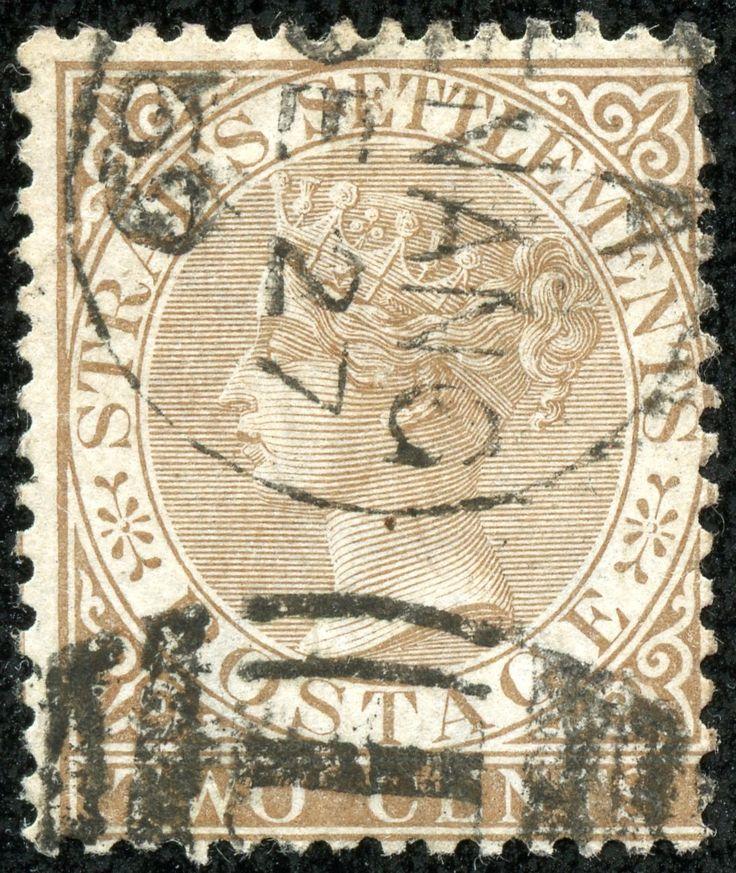 "Straits Settlements 1867 Scott 10 2c bister brown ""Victoria"" Wmk 1: ""Crown and C C"""