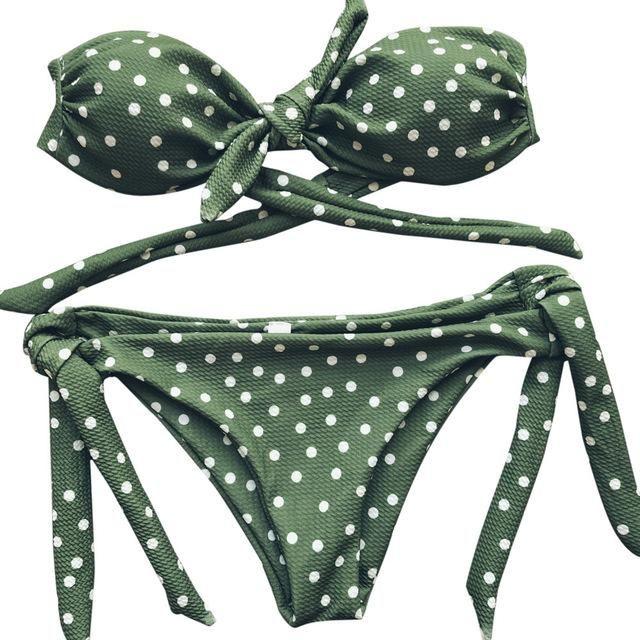 Set bikini con cinturino senza spalline con stampa a pois