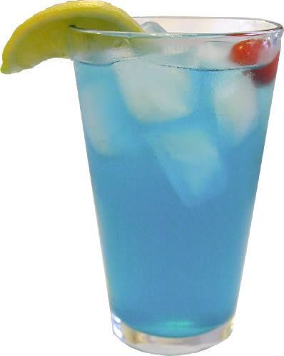 Electric Lemonade: 1.5 oz vodka, .5 oz blue curaçao, 2 oz sweet and sour mix, can of sprite