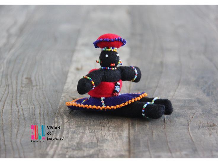 VIVIAN - Zulu Doll with Baby - red/purple by ZuluBeadz on Etsy
