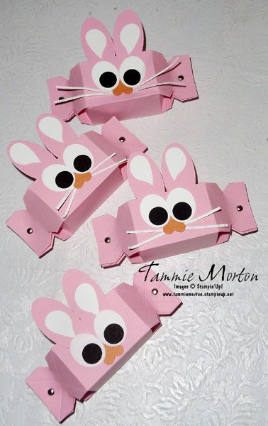Candy Wrapper Bunnies - punch art - treat box