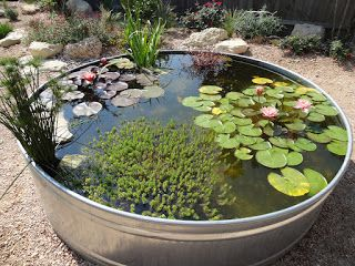 Easy way to include a small pond. I would use a ceramic container as opposed to this metal one.