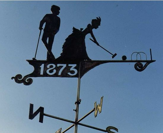 COPPER WEATHERVANE OF CROQUET PLAYERS                                                                                                                                                                                 More
