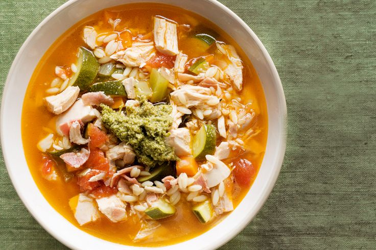 Chicken minestrone soup http://www.taste.com.au/recipes/30555/chicken+minestrone+soup