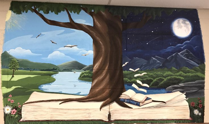 The beautiful mural in my library painted by Angela Jones!