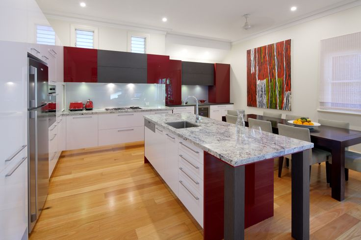 Dean Welsh Designs kitchen #kitchendesign #red #boldcolours   http://digitaledition.lighthome.com.au/#folio=36