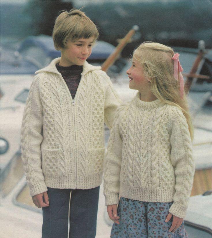 PDF Boy or Girl Aran Sweater and Jacket Knitting Pattern : Childrens 22, 24, 26, 28, 30, 32, 34 inch chest . 56, 61, 66, 71, 76, 81, 86 cm by PDFKnittingCrochet on Etsy