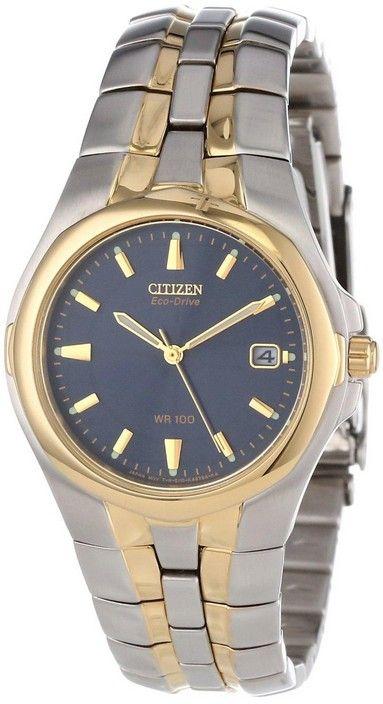 Montre Citizen Eco-Drive BM0194-53L, boîtier et bracelet en acier, cadran bleu.