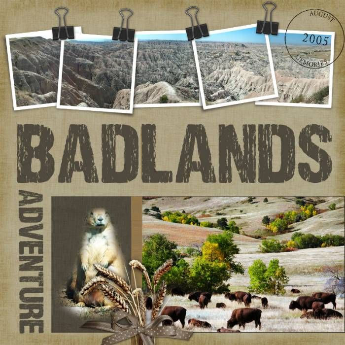 I love this page, see how the panorama is contained in the 5 different photos?  Documenting our trip to the Badlands in SD.