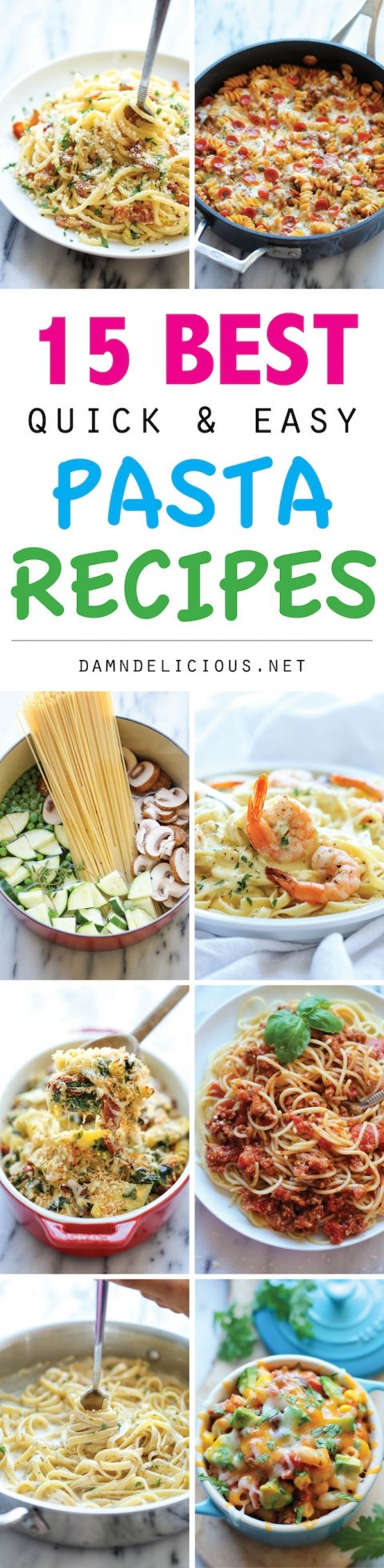 15 Best Quick and Easy Pasta Recipes - From one pot meals to 15 min dishes and slow cooker recipes, these are the easiest pasta dishes ever!