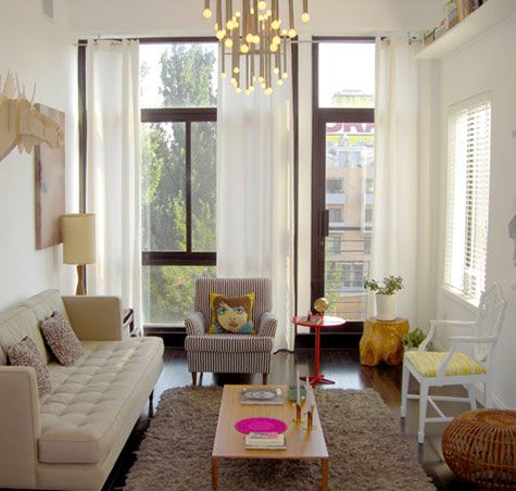 Great simple, but very stylish living room - via d*sLiving Rooms, White Living, Leather Couch, Small Living Room, Living Room Design, Small Living Spaces, Modern Living Room, Jonathan Adler, Windows Shades