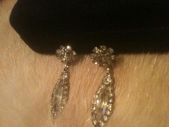 ART DECO EARRINGS Dangle Rhinestone