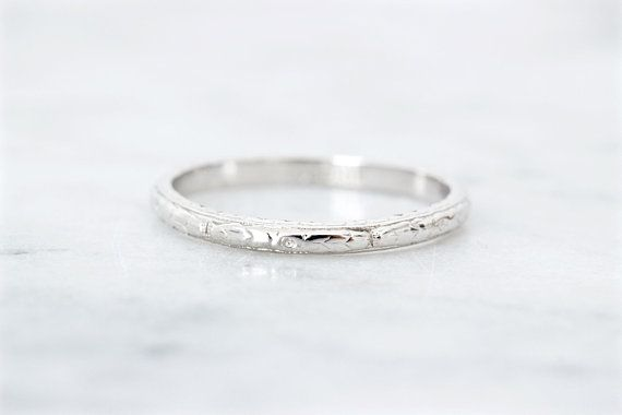 Antique Wedding Band 1920s Floral Engraved Eternity Band Thin