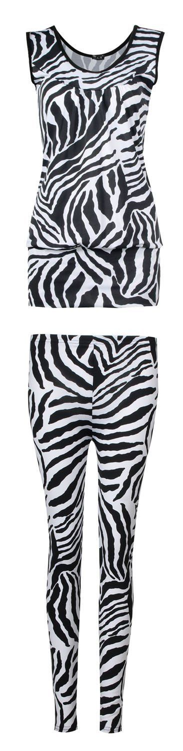 Fast Fashion Damen 2 teiliges Set Zebra Druck Ärmelloses Top Leggings: Amazon.de: Bekleidung