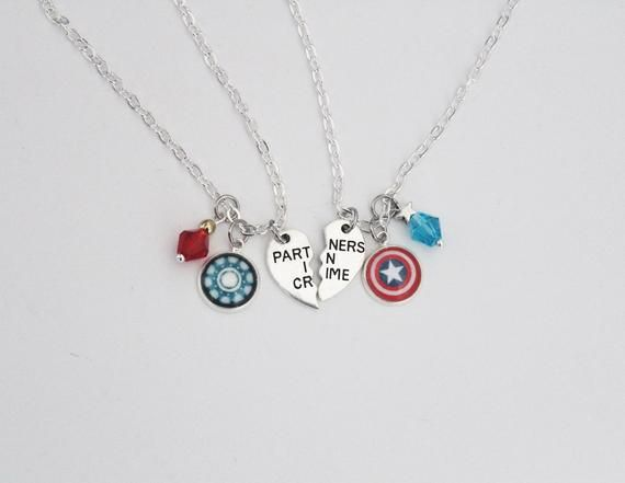 Steve Tony Bff Necklace Set Comic Inspired Jewelry Steve Rogers Tony Stark Captain America Iron Man Stony Friendship Jewelry Otp Gift Bff Necklaces Friendship Jewelry Marvel Jewelry
