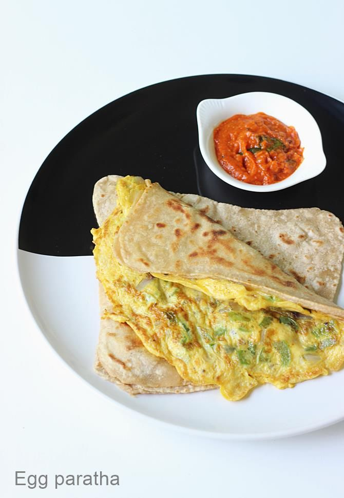 egg paratha - Indian flat bread topped with egg