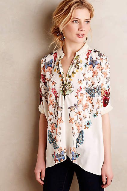 Pearled Flutter Kimono Blouse - anthropologie.com #anthrofave