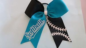 Softball Hair Bow Black and Teal Cheer Style | eBay