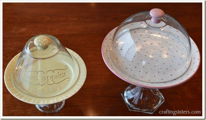 DIY cake stand with lids - 2 for $12 Lids made of bowls and door knobs. Obviously different colors