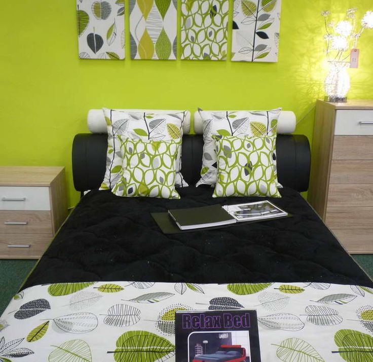 lime green bedroom ideas with wooden cabinet - Green Bedroom Design