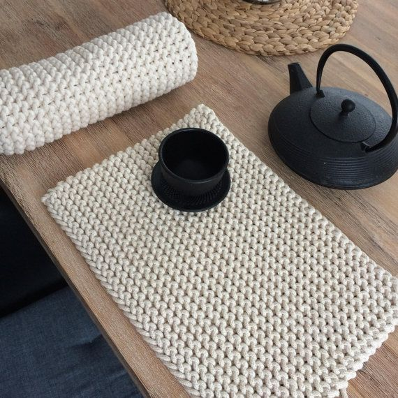 Teppich Wolle Natur Placemats, Set Of 4 Knitted Cotton Placemats, Table Mats