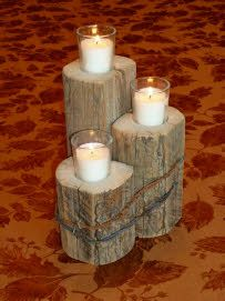 Rustic candle holder made from old fence post and barbed wire reclaimed from an old Montana ranch.