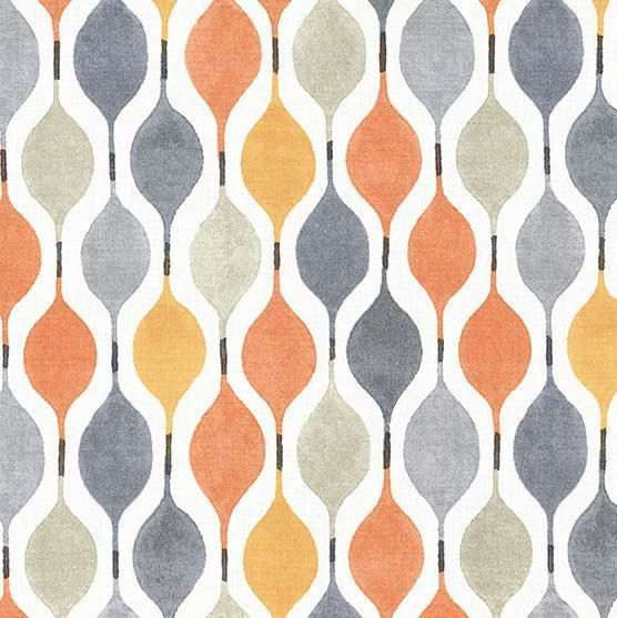 Orange and Blue Geometric Cotton Home Decor Fabric - Modern Orange and Grey Ogee Roman Shade Curtain Fabric - Yellow Grey Pillow Covers
