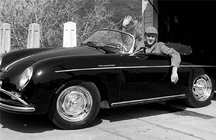 Steve McQueen in his Porsche, which he occasionally entered in races. Los Angeles, California. [1960]
