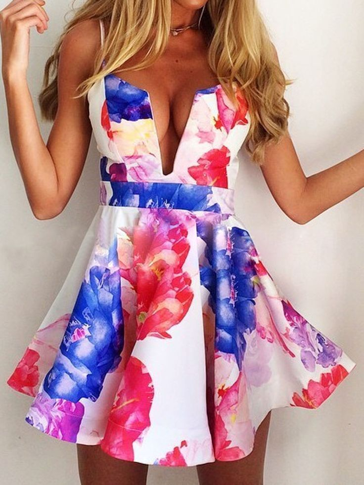 Multi Floral Camis Skate Dress | abaday
