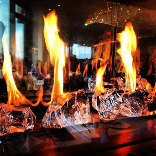 """The #fire & #ice #crystal #fireplace is #spectacular @Sparkling Hill Resort & Spa "" (taken at PeakFine Restaurant)"
