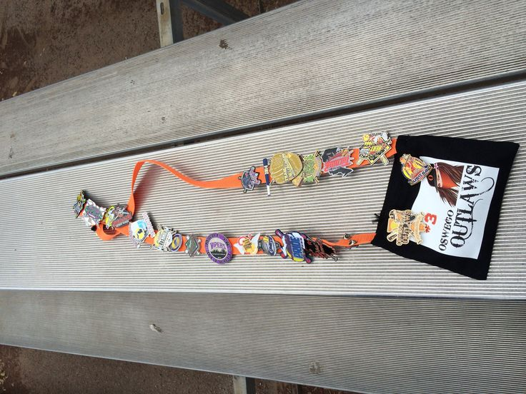 Made these for pin trading at the World Series for softball. They were perfect for holding pins yet to be traded in the pouch and pins they got from other teams were pinned onto the strap.