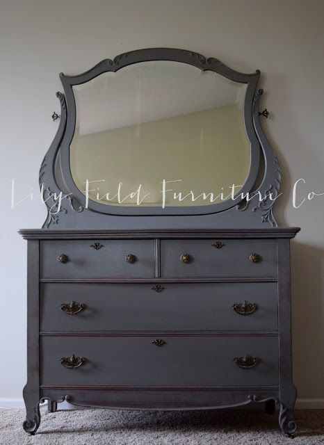 Harp Dresser Makeover in Country Chic Chalk Paint Cobblestone by Lily Field Furniture Co.
