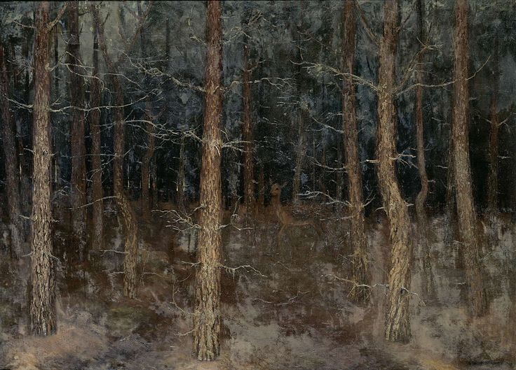 'Mystieke paden': bosgezicht, Gust van de Wall Perné, 1907 oil on canvas, h 129cm × w 177cm This painting seems to be almost a blur or a figment of ones imagination.  The blending of the oil paint colors together allows that to happen.  This would not have been possible if the artist had tried to make a ceramic deer.  The illusion of the blur would have been lost.