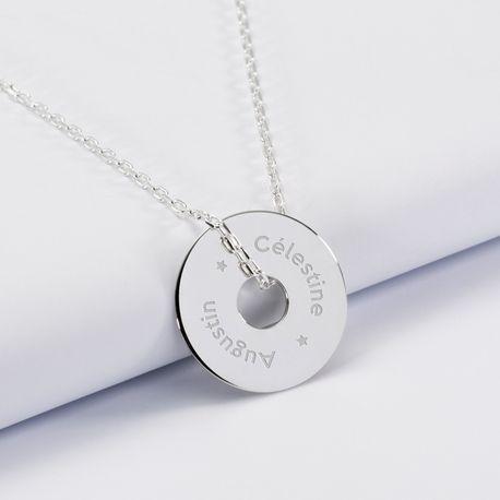 Transformez les dessins de vos enfants en collier personnalisé médaille gravée argent cible 20mm à petit prix.