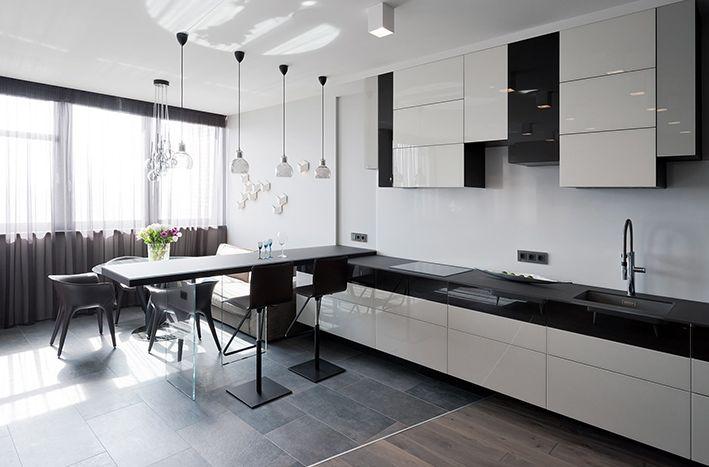 Прямая черно-белая кухня 4 метра в стиле минимализм