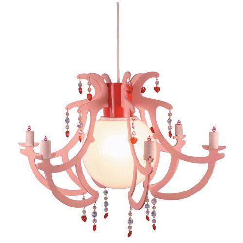Roze kroonluchter voor de kinderkamer. De hanglamp is voorzien van een E27 fitting en u kunt de lamp dus zelf van een LED of een halogeenlamp voorzien. De kroonluchter meet circa 55 x 40cm. - Kroonluchter Rosata
